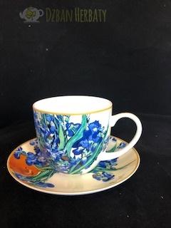 filiżanka porcelanowa Carmani z irysami van Gogha