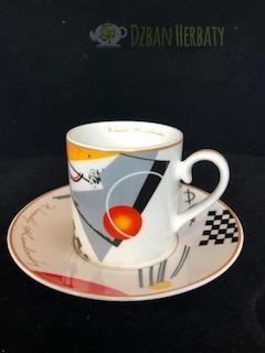 filizanka porcelanowa ze spodeczkiem - motywy z Kandinskiego