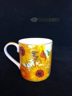kubek porcelanowy z motywem słoneczników