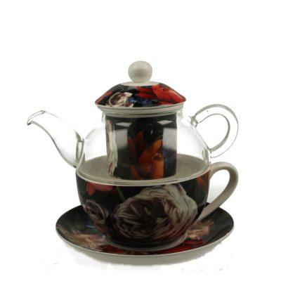 szklany dzbanek do herbaty z filiżanką
